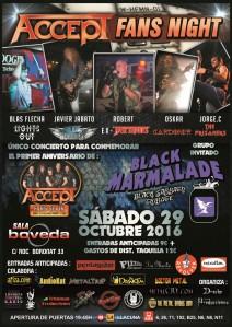 CARTEL ACCEPT TRIBUTE + BLACK MARMALADE SALA BOVEDA 29-10-2016